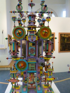 Charles Byrd's magnificent kinetic sculptures. Bits of old transistor radios, toys, all sorts. Everything spins or rotates too. Like a real life Bertha.
